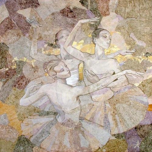 Ballerinas. Painting by Russian artist Evgeny Kuznetsov
