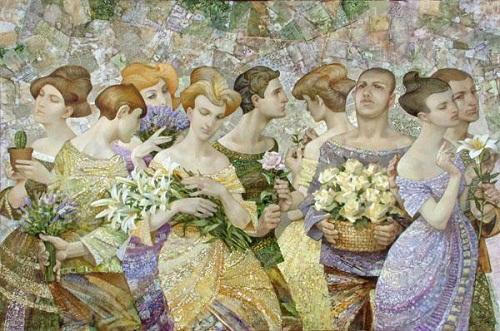 Bouquets. Painting by Russian artist Evgeny Kuznetsov