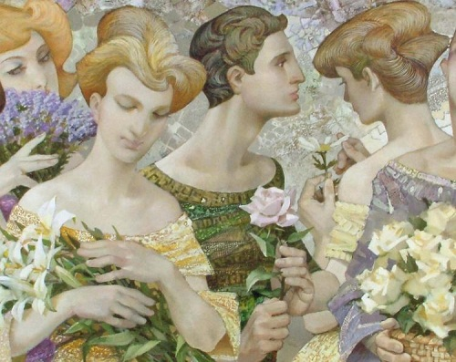 Bouquets, closeup. Painting by Russian artist Evgeny Kuznetsov