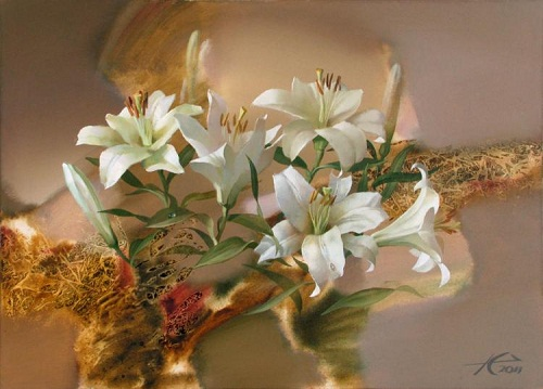 White lily. Painting by Russian artist Evgeny Kuznetsov