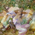 Playing the violin. Painting by Russian artist Evgeny Kuznetsov