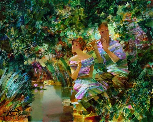 In the garden. Painting by Russian artist Evgeny Kuznetsov