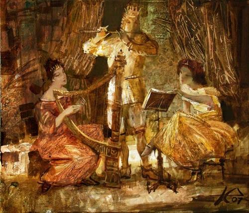 Playing music. Painting by Russian artist Evgeny Kuznetsov