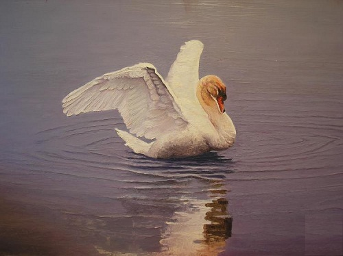 Swan on the lake. Painting by Russian artist Vasiliy Kolesnik