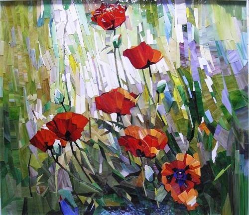 Red poppies. Painting by Russian artist Vasiliy Kolesnik