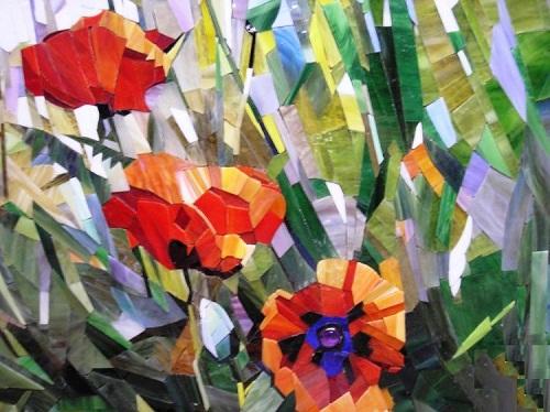 Poppies, detail. Mosaic painting by Russian artist Vasiliy Kolesnik