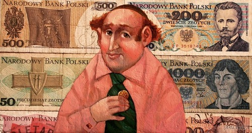Pan banker Josef Rojzmanovskij in the new nylon pink shirt. Money power in painting by Ukrainian artist Oleg Demko