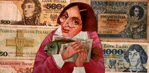 Pani Hava and Karasik to Purim. Money power in painting by Ukrainian artist Oleg Demko