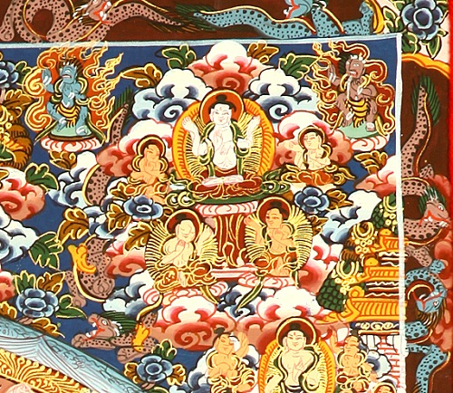 Right upper detail of the Medicine Buddha