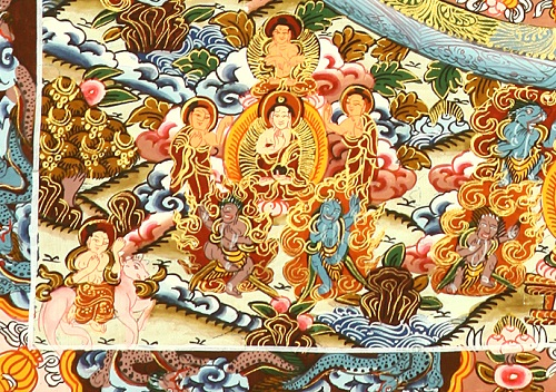 Bottom left the Medicine Buddha (detail).