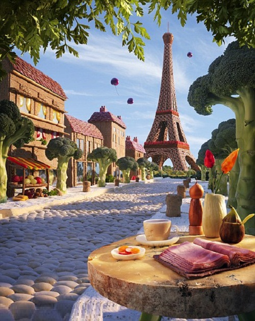 Paris Boulevard - Cherries fall from the sky in this scenic reconstruction of the Eiffel Tower, laced with raspberries
