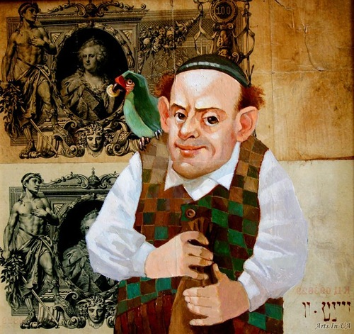 Parrot speaking Yiddish, and not only. Money power in painting by Ukrainian artist Oleg Demko