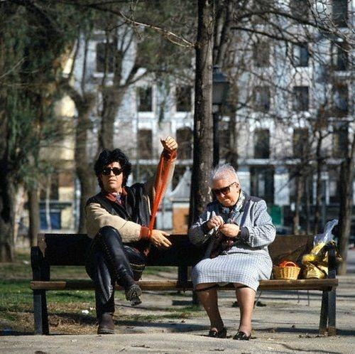 Spanish film director, screenwriter, producer and actor Pedro Almodóvar and his mother