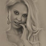 Looks like Anna Kournikova, Russian tennis player. Pencil portrait by Polish Illustrator Krzysztof Lukasiewicz