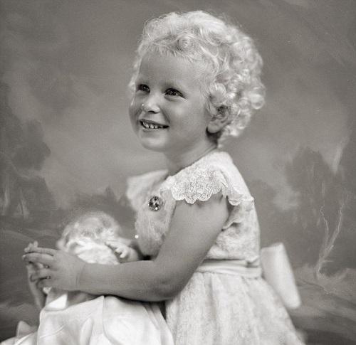 Princess Anne wearing her Coronation Day dress, 23 July 1953