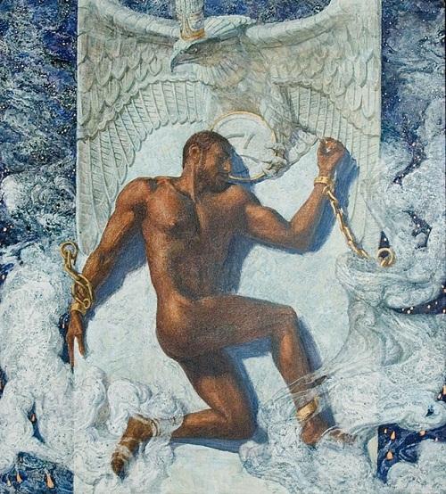 Prometheus. Mythological paintings by Russian artist Nikolai Burdykin