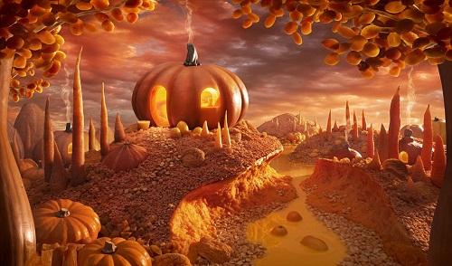 Pumpkin Paradise - This scene features orange fruits and vegetables including pumpkin, carrots and apricots