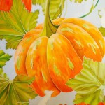 Shawl with Pumpkins. On the fairy tale Cinderella. Painting on silk by Xenia (KENAZ)