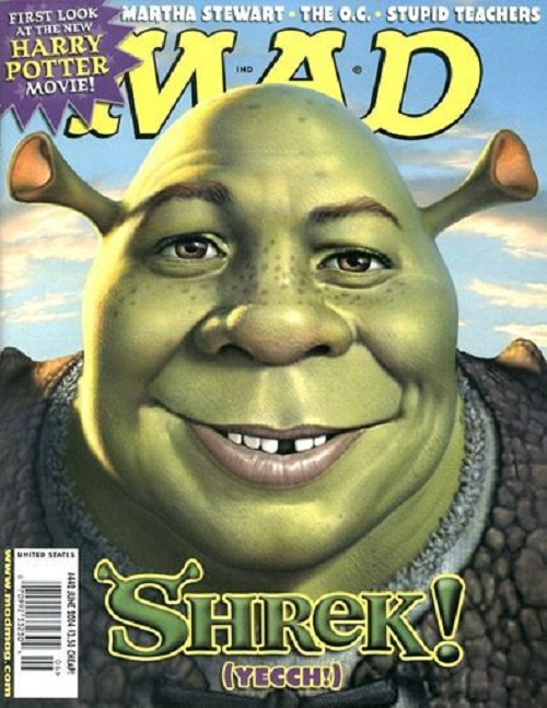 Shrek. Mad's mascot, Alfred E. Newman, is typically the focal point of the magazine's cover, with his face often replacing a celebrity or character that is lampooned within the issue