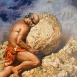 Sisyphus. Mythological theme in painting by Russian artist Nikolai Burdykin