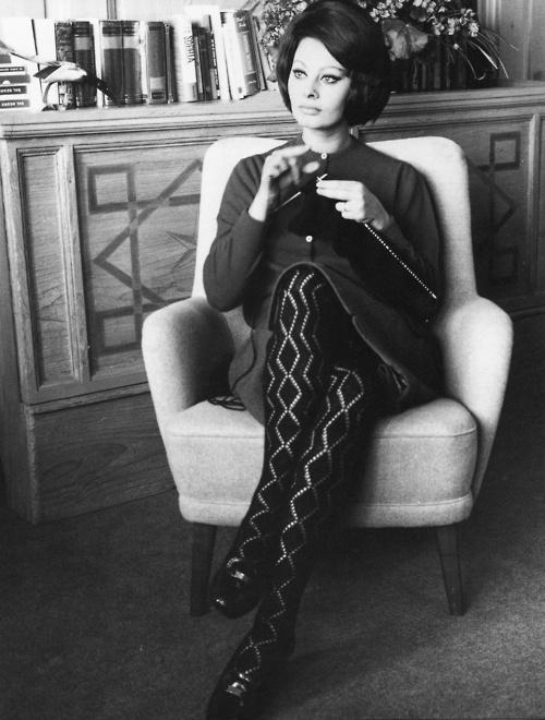 Celebrities knitting. Gorgeous Italian actress Sophia Loren knitting