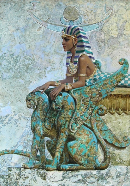 Sphinx. Oil on canvas. Mythological theme in painting of Moscow based artist Nikolai Burdykin