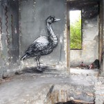 Street art on gloomy and ugly constructions created by Belgian graffiti artist Roa