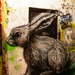A little hare – large scale street painting by Belgian graffiti artist Roa