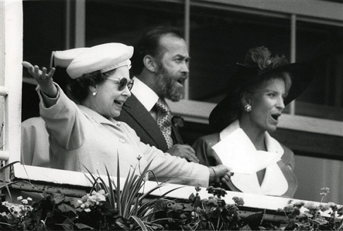 with Prince and Princess Michael of Kent at Epsom watching as Kahyasi wins the Derby, June 1, 1988