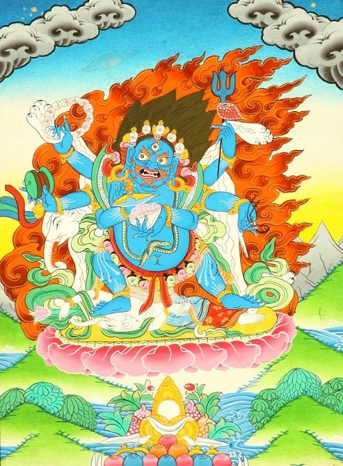 The Six-Armed (Shadbhuja) Mahakala (mGon po phyag drug pa) - A Highly Symbolic Image. Thangka Gallery