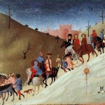 Fragment. A caravan of travelers. In the foreground of the star of Bethlehem. The adoration of the Magi, Sassetta