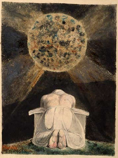 The archetype of the Creator is a familiar image in Blake's work. Here, the demiurgic figure Urizen prays before the world he has forged