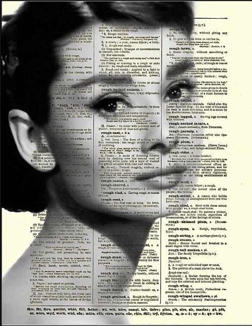 Celebrities on old book pages. Audrey Hepburn