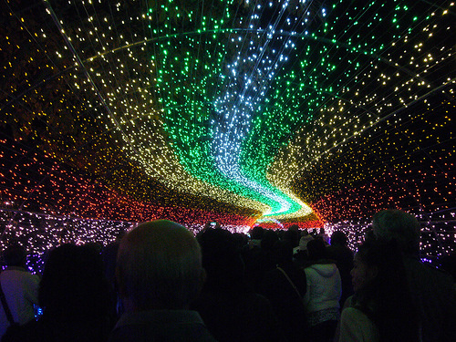 The central part of the installation – beautiful tunnel of light. The world's largest light installation 'Winter light' in Japan