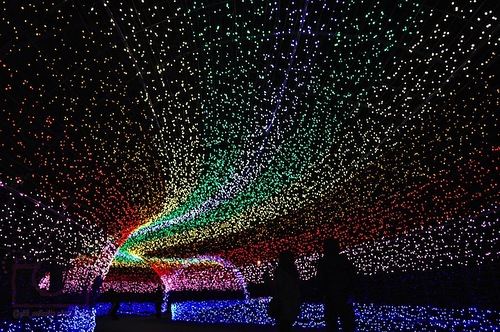 Impressive tunnel. The world's largest light installation 'Winter light' in Japan
