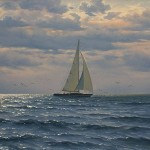 A boat in the sea. Painting by Russian artist Alexey Adamov