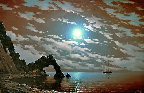 At the sunset. Russian artist Alexey Adamov