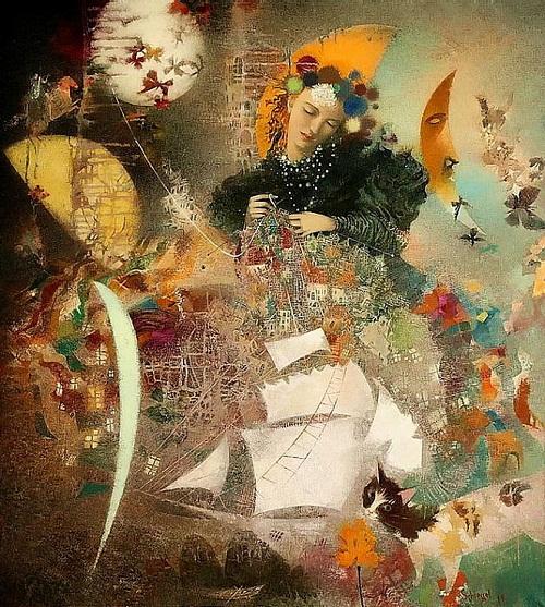 Knitting dreams. Painting by Belarusian artist Elena Shlegel