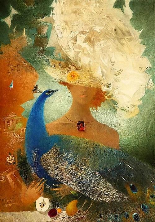 Blue peacock. Painting by Belarusian artist Elena Shlegel