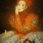 Red dress. Painting by Belarusian artist Elena Shlegel
