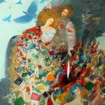 Spinning wheel. Painting by Belarusian artist Elena Shlegel