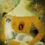 Favorite pet. Painting by Belarusian artist Elena Shlegel
