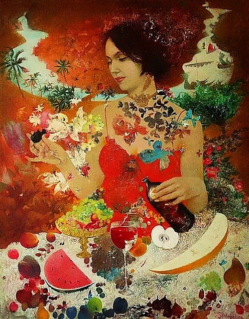 Table of wine, fruit and berries. Painting by Belarusian artist Elena Shlegel