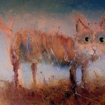 Homeless cat. Eyes that talk to you. Painting by Russian artist Igor Medvedev
