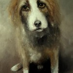Pet dog. Eyes that talk to you. Painting by Russian artist Igor Medvedev