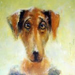 Waiting for owner. Eyes that talk to you. Painting by Russian artist Igor Medvedev