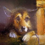 Stray dog. Painting by Russian artist Igor Medvedev