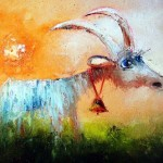 Goat with a bell. Eyes that talk to you. Painting by Russian artist Igor Medvedev