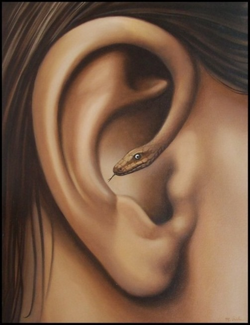 Ear-snake. Painting by Romanian artist Mihai Criste