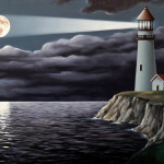 Lighthouse. Painting by Romanian artist Mihai Criste